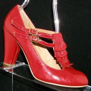 Steve Madden 'Impire' red t-strap ruffle heel 8